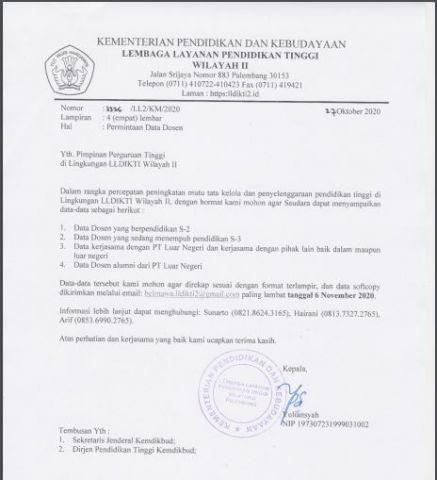 Surat Edaran Permintaan Data Dosen